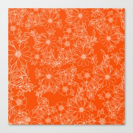 Hand drawn white bright orange modern floral Canvas Print