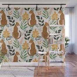Spring Cheetah Pattern I - Green and Yellow Wall Mural