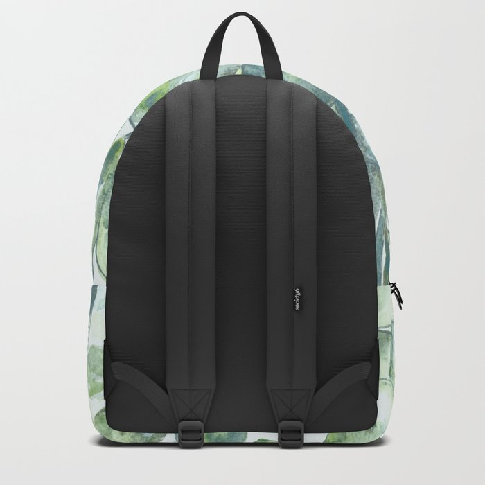 """Hand painted watercolor art """"Green Rhythm"""" Backpack"""