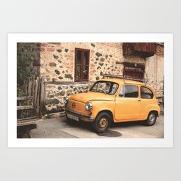 Yellow car vintage Art Print