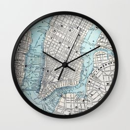 Vintage Map of New York Wall Clock