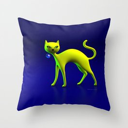 The Yellow Cat And Glass Blue Cherry Throw Pillow