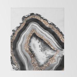Agate Gold Glitter Glam #1 #gem #decor #art #society6 Throw Blanket