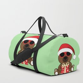 Cool Santa Bear with sunglasses and gift Duffle Bag