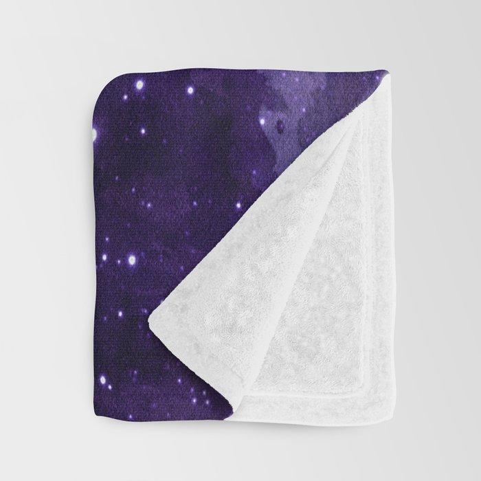 Purple Watercolor Space Pattern Throw Blanket