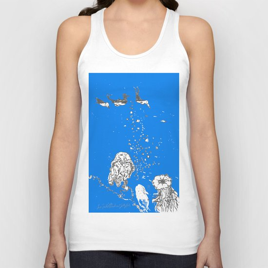 Two Tailed Duck and Jellyfish Royal Brilliant Blue Unisex Tank Top