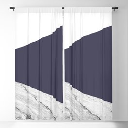 Marble Eclipse blue Geometry Blackout Curtain