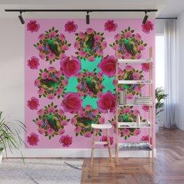 GREEN PEACOCK &  PINK ROSE GARDEN PINK PATTERN Wall Mural