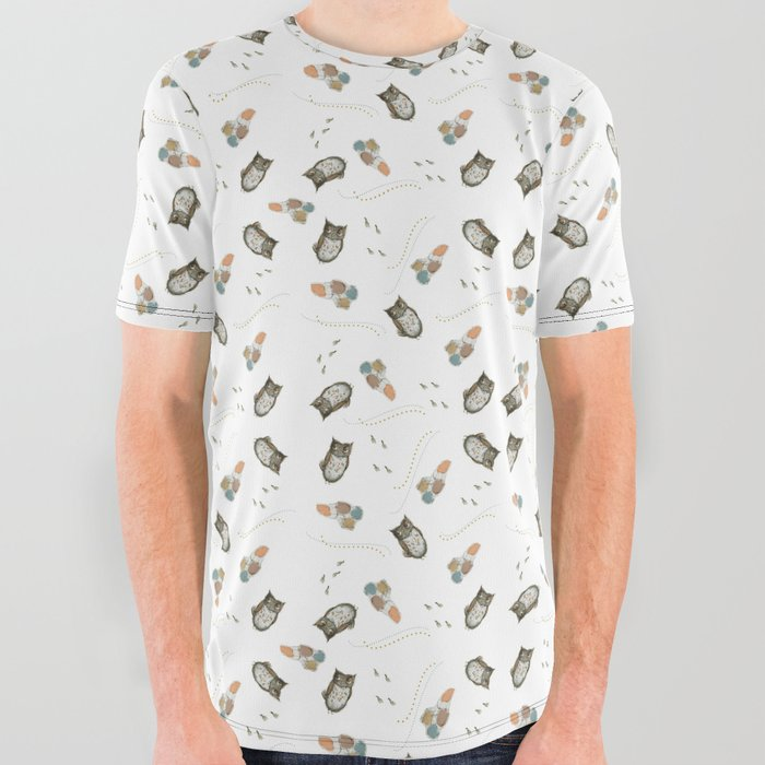 Harry the Owl Pattern All Over Graphic Tee