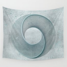 Geometrical Line Art Circle Distressed Teal Wall Tapestry