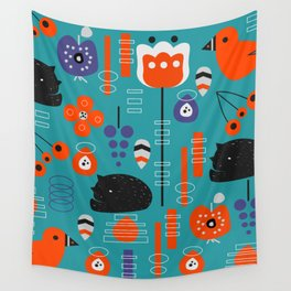 Modern birds and sleepy cats Wall Tapestry