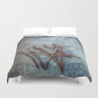 tool Duvet Covers featuring a bunch of nails by Maria Heyens