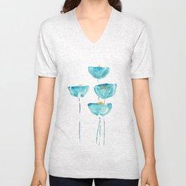 blue poppy watercolor Unisex V-Neck