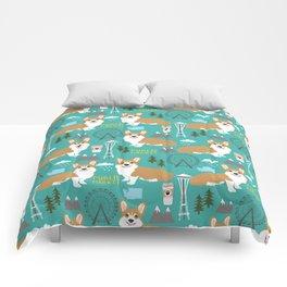 Corgi seattle washington welsh corgi pattern print dog lover gifts space needle ferris wheel coffee Comforters