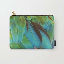 Blue and Green Macaw Feathers Carry-All Pouch