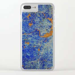 Boston Massachusetts 1893 colorful vintage old map. Orange and blue artwork Clear iPhone Case