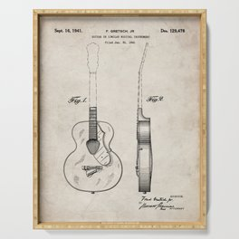 Accoustic Guitar Patent - Classical Guitar Art - Antique Serving Tray