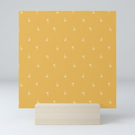 Minimal leaves in yellow Mini Art Print