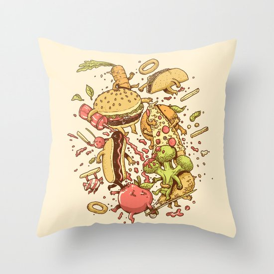 Food Fight Throw Pillow