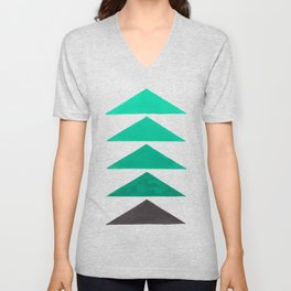 Colorful Turquoise Green Geometric Pattern with Black Accent Unisex V-Neck