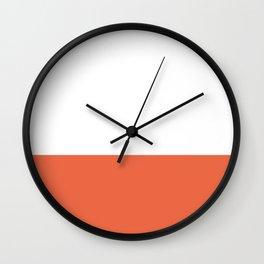Burnt Orange and White Minimalist Color Block Wall Clock
