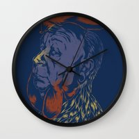 cock Wall Clocks featuring Hitch-Cock! by Joshua Kemble