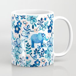 Blush Pink, White and Blue Elephant and Floral Watercolor Pattern Coffee Mug
