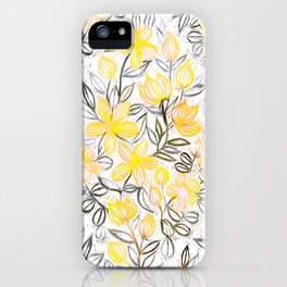 Sunny Yellow Crayon Striped Summer Floral iPhone Case