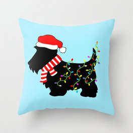 Christmas Scottie Dog With Lights Throw Pillow