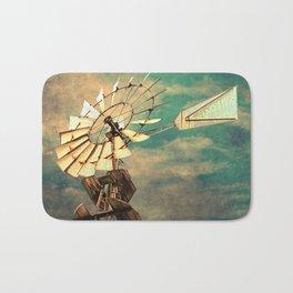 Rustic Windmill against Cloudy Sky Modern Country Art A520 Bath Mat