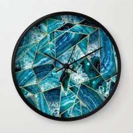 Turquoise Navy Blue Agate Black Gold Geometric Triangles Wall Clock