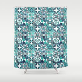 Spanish moroccan tiles inspiration // turquoise green silver lines Shower Curtain