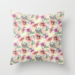 Elegant pink coral modern floral botanical illustration Throw Pillow