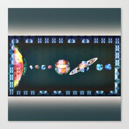 Trippy Tribal Print Solar System Space Scene Canvas Print