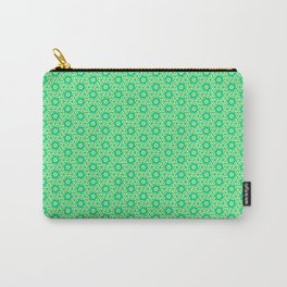 Fragmented Turquoise Mint Green Hexagons with Butter Cream Yellow Geometric Country Design Pattern Carry-All Pouch
