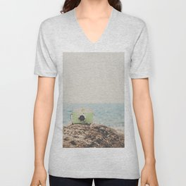 """the """"dreamer"""", a mint green camera with the ocean behind it Unisex V-Neck"""