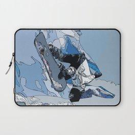 Ski over avalanche//snow mountain//Mountain Ski Landscape Blue and White sketch Vibes Laptop Sleeve
