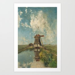 A mill on a polder canal, known as 'In the month of July' - Paul Joseph Constantin Gabriël (1889) Art Print