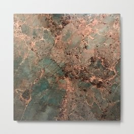 Marble Emerald Copper Blue Green Metal Print