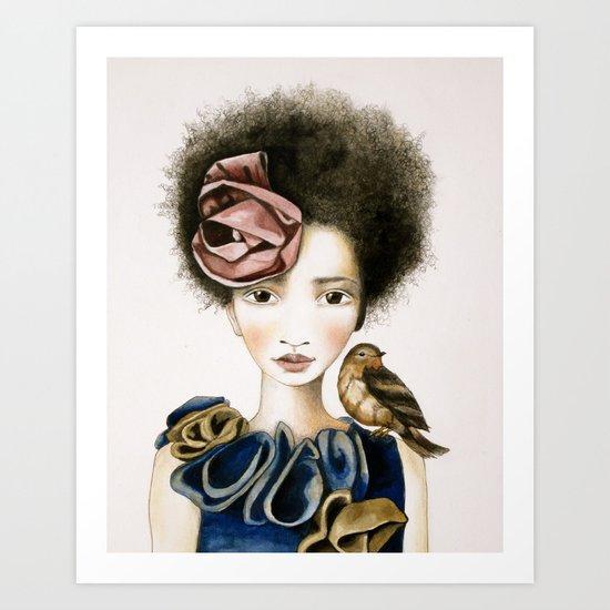 rose and the bird Art Print
