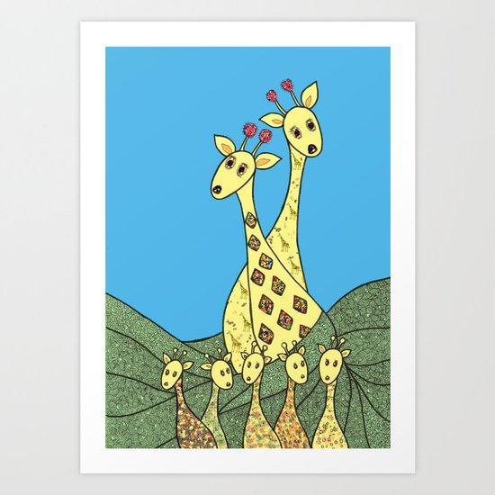 Giraffe Fashion Show  Art Print