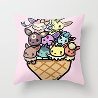 eevee Throw Pillows featuring Eevee Ice Cream by Mayying
