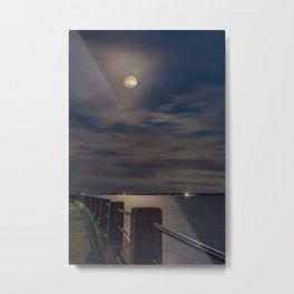 Moon on The Battery Metal Print