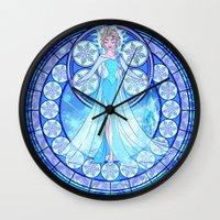 elsa Wall Clocks featuring Elsa by NicoleGrahamART