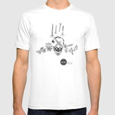 Burn After Reading | Collage White MEDIUM Mens Fitted Tee