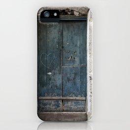 Green Door with Heart iPhone Case