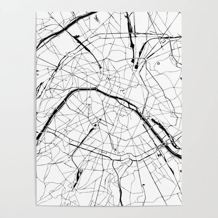 Paris Map Black And White.Paris France Minimal Street Map Black And White Poster By Mapmaker