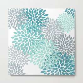 Floral Pattern, Aqua, Teal, Turquoise and Gray Metal Print