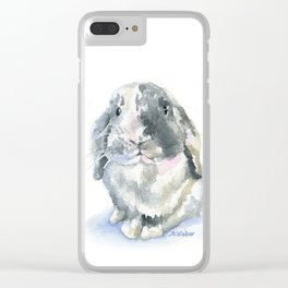 Gray and White Lop Rabbit Clear iPhone Case