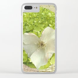 Tea Rose heart Clear iPhone Case